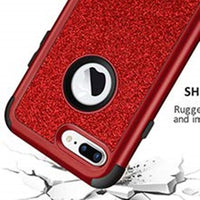 iPhone 7 & 8 Plus Case Bling Glitter Shiny Heavy Duty Protection Full-Body Protective Cover