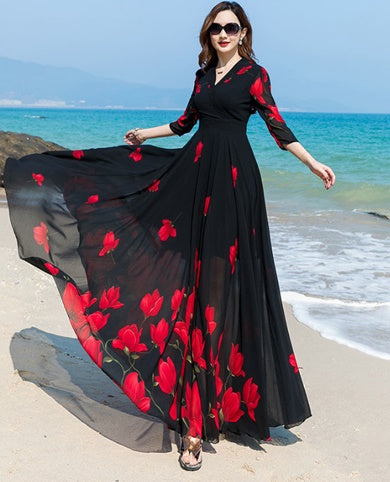 A Chiffon Flower Print Long Dress