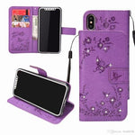 For Iphone XR Bling Diamond Flower Leather Wallet Case  PU Butterfly Card Slot Phone Flip Cover