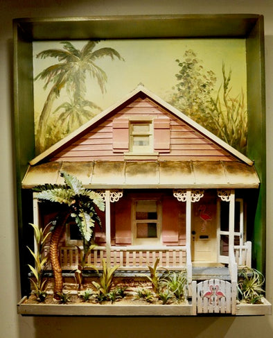 3-Dimensional Florida Pink Cottage & Palm Tree Wall Hanging