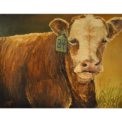 #34 Cow Canvas Painting