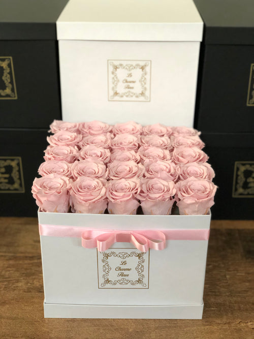 25 Everlasting Roses In a Medium Square Box