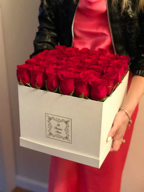 Medium Square Box-36 Fresh Cut Roses