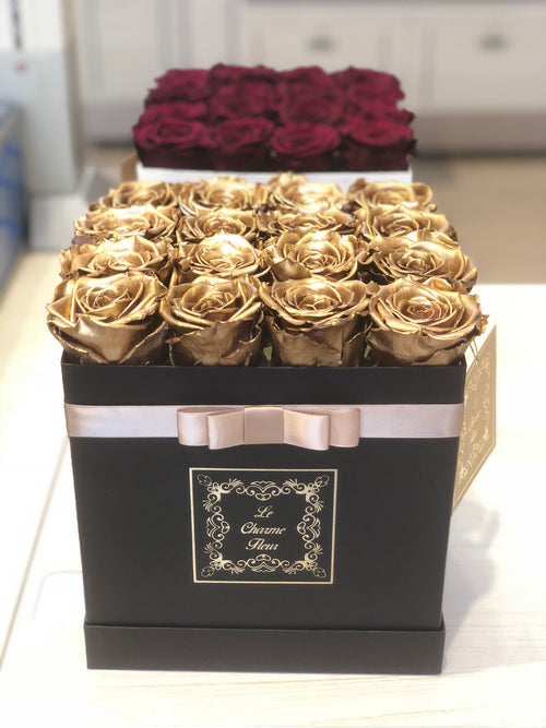 Small Square Box with Real Long Lasting Roses