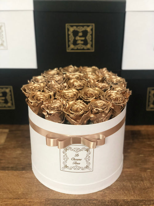 Medium Round Box with Real Long Lasting Roses