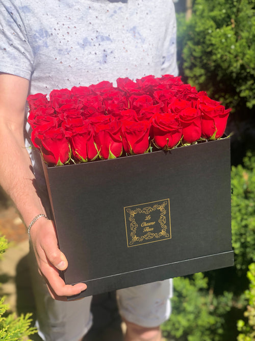 Large Square Box-49 Fresh Cut Roses