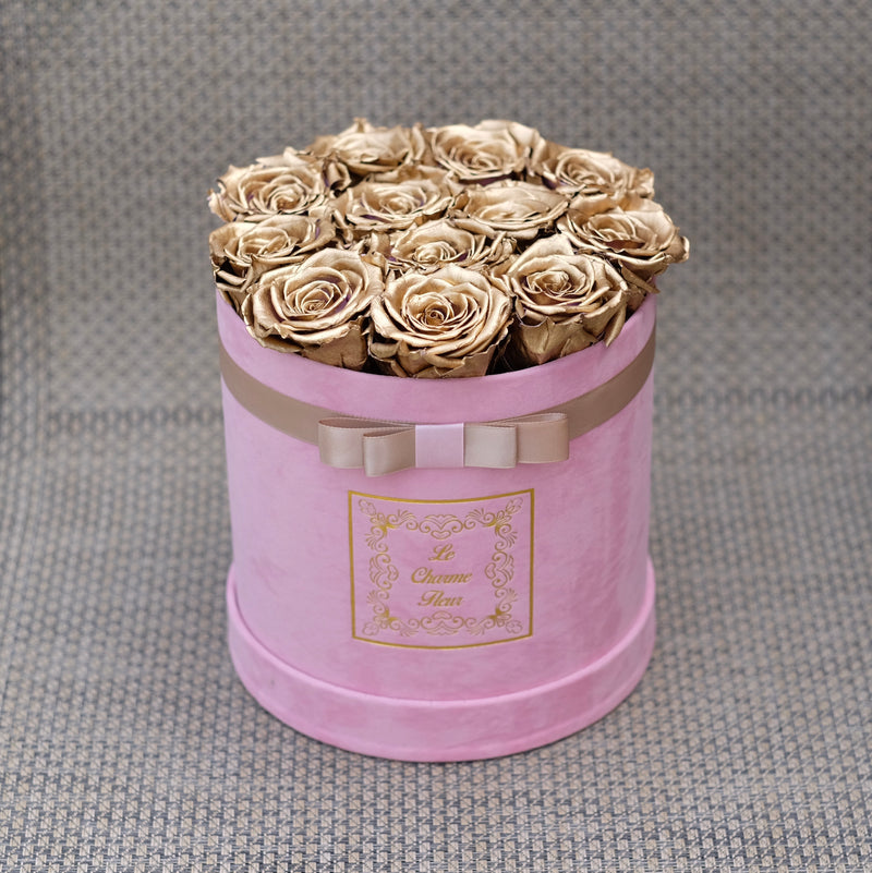 14 Everlasting Roses In a Small Round Box