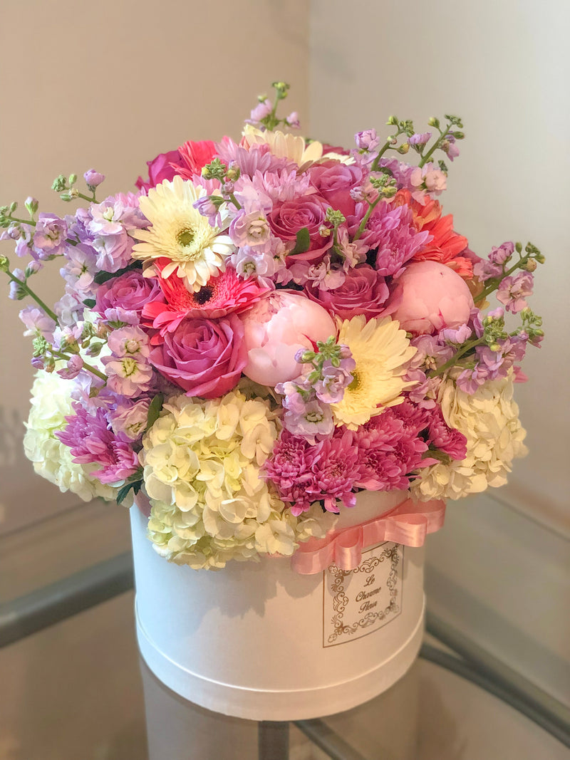 Medium Round Box- Mix of Seasonal Flowers