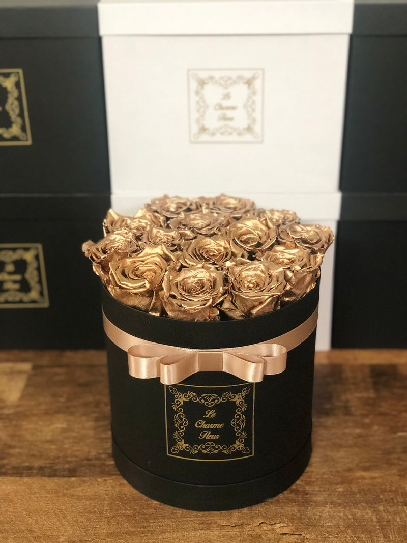 12-14 Everlasting Roses In a Small Round Box