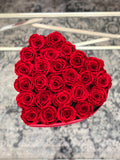 Large Red Velvet Heart Box with Red Real Long lasting Roses