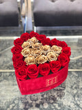 Large Red Velvet Heart Box with Gold Real Long Lasting Roses in the Middle