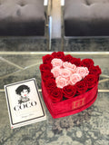 Medium Red Velvet Heart Box with Pink Real Long Lasting Roses in the Middle