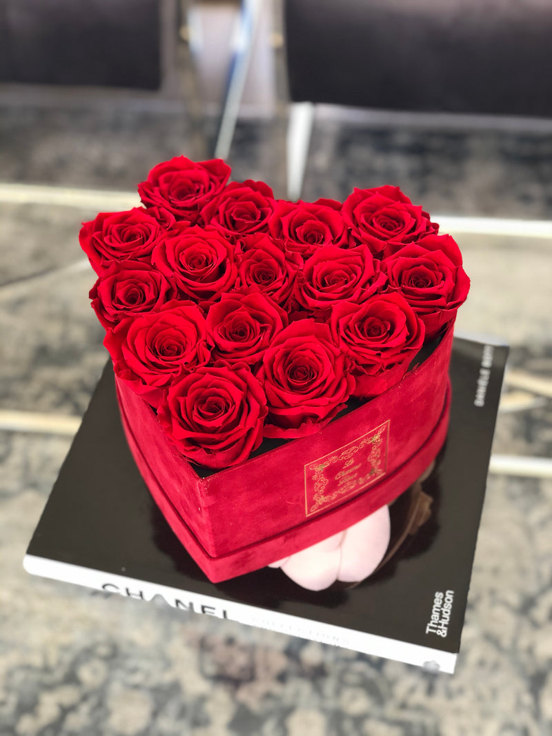 Small Red Velvet Heart Box with Real Long Lasting Roses