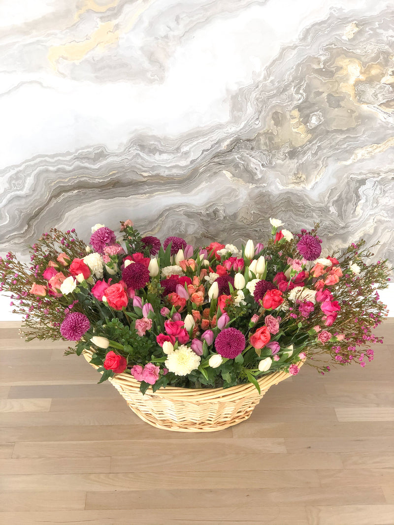 Large Fluffy Basket- Mixed Flowers