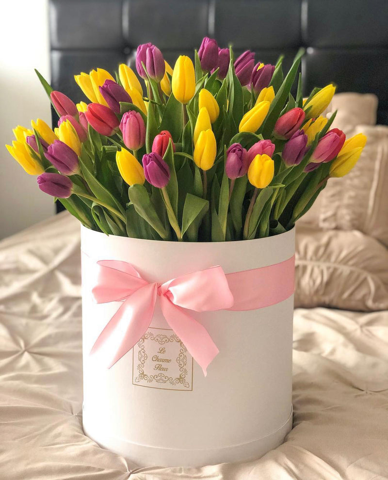 Large Round Box- Fresh Tulips