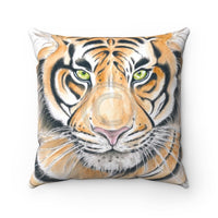 Bengal Tiger Watercolor Ink Art Square Pillow Home Decor