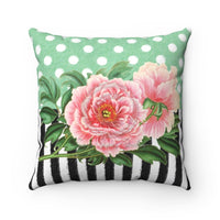 Pink Peonies Green Polka Dot Stripes Art Square Pillow Home Decor