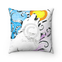 Wolf Moon Tribal Ink Ii Watercolor Art Square Pillow 14X14 Home Decor
