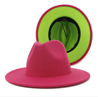 Hot Pink + lime green FEDORA