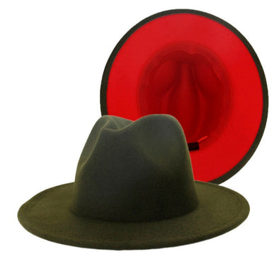 Olive + red bottom FEDORA