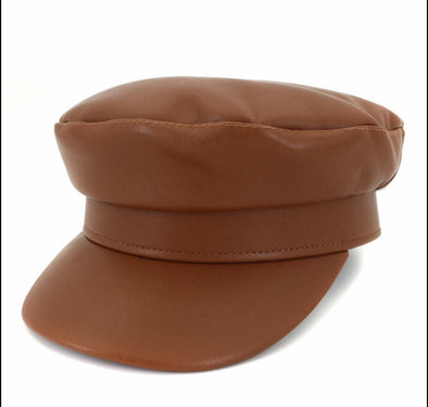 Brown Leather Beret Hat