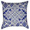 Small Blue and Creme Damask Filigree Throw Pillow