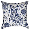 Small Navy Blue Tattooed French Bulldog Throw Pillow