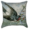 Small Vintage Flying Sparrow Throw Pillow