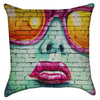Small Cool Hot Pink Lips Chic Graffiti Throw Pillow