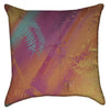 Small Abstract Neon Leaves and Stripes Throw Pillow