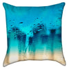 Small Runny Droplets Turquoise Beach Ombre Throw Pillow