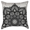 Small Black and White Floral Lace Throw Pillow