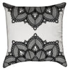Small Black and White Split Floral Lace Throw Pillow