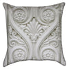 Small White Spiraling Fleur De Lis Throw Pillow