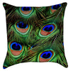 Small Peacock Tail Feathers Throw Pillow