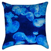 Small Glowing Blue Jellyfish Throw Pillow