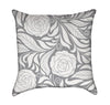 Grey and White Rose Flourish Throw Pillow