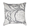 Grey and White Rose Flourish Throw Pillow Version 2