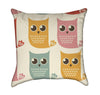 Retro Happy Little Owls Throw Pillow