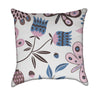 Pink Brown and Blue Playful Floral Throw Pillow