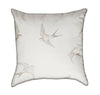 Delicate Crème Monocrome Beige Swallow Throw Pillow Back View