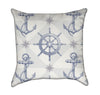 Light Blue Nautical Anchors and Helms Throw Pillow