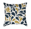 Modern Navy and Mustard Flourish Throw Pillow