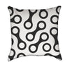 Retro Black and White Cellular Links Throw Pillow Version 2