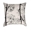 Light Pink Sakura Cherry Blossoms on Black and White Zen Throw Pillow