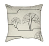 Black Geometric Trees on Beige Throw Pillow