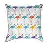 Retro Colorful Flamingos Throw Pillow
