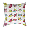 Playful Cartoon Owls Throw Pillow