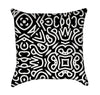 Abtract Black and White Ethnic Throw Pillow Version 2