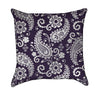 White Paisley over Royal Purple Throw Pillow